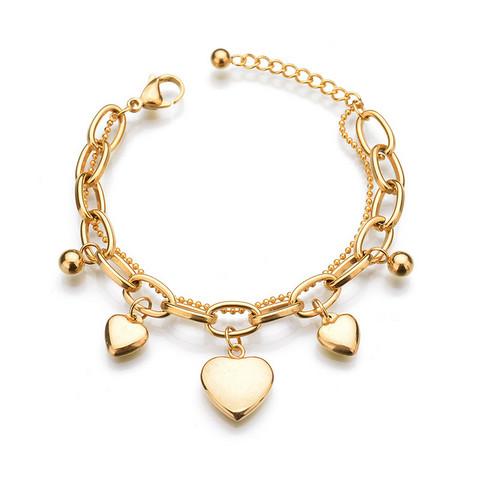 Kirurginteräsrannekoru, Heart Charm Bracelet in Gold