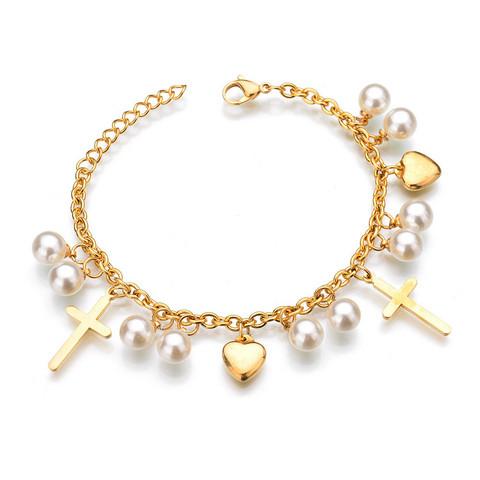 Kirurginteräsrannekoru, Cross Charm Bracelet in Gold