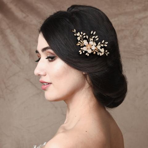 Hiuskoru, ATHENA BRIDAL JEWELLERY|Gold Flower Headpiece