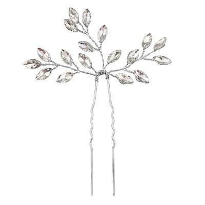 Hiuskoru, ATHENA BRIDAL Dainty Silver Hairpin with Crystals