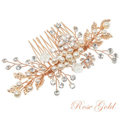 Hiuskoru, ATHENA BRIDAL Romantic Flower Headpiece -Luxe Hair Comb (RG)