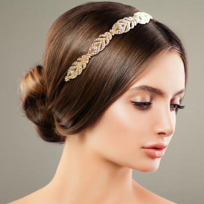 Hiuskoru, ATHENA BRIDAL Chic Feather Crystal Headband in Gold