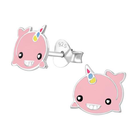 Lasten hopeakorvakorut, Pink Unicorn Whale -yksisarvisvalaskorvakorut
