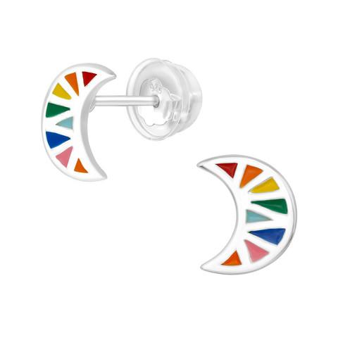 Hopeiset premium korvanapit, Rainbow Crescent -sateenkari korvakorut