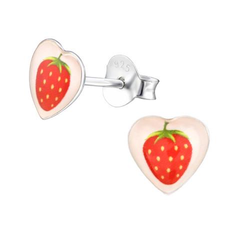 Hopeiset korvanapit, Strawberry Heart -mansikkakorvakorut