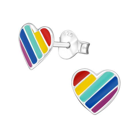 Hopeiset korvanapit, Rainbow Heart -sateenkaari korvakorut
