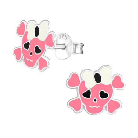 Hopeiset korvanapit, Pink Skull-pääkallokorvakorut