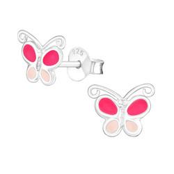 Lasten hopeakorvakorut, Pink Butterfly -perhoskorvakorut