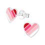 Hopeiset korvanapit, Pink Striped Heart -sydänkorvakorut