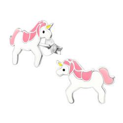 Lasten hopeakorvakorut, White & Pink Unicorn -yksisarviskorvakorut