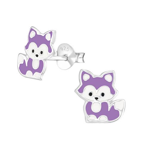 Hopeiset korvanapit, Small Fox Earstuds in purple -pikkuinen kettu