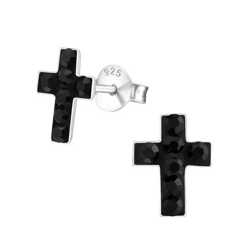 Hopeiset korvanapit, Black Cross with Stones -ristikorvakorut