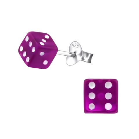 Hopeiset korvanapit, Purple Small Dice -noppakorvakorut