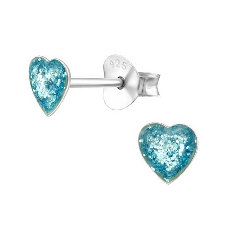Hopeanapit, Mini Turqoise Glitter Heart -turkoosit sydännapit