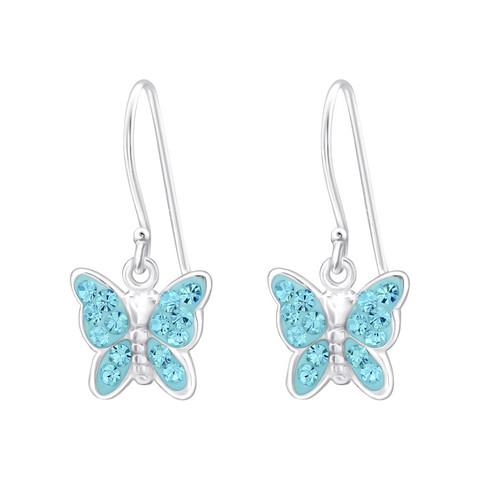 Hopeiset korvakorut,Turqoise Butterfly -turkoosit perhoskorvakorut