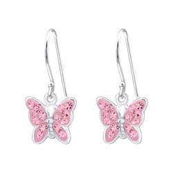 Hopeiset korvakorut, Light Rose Butterfly -perhoskorvakorut