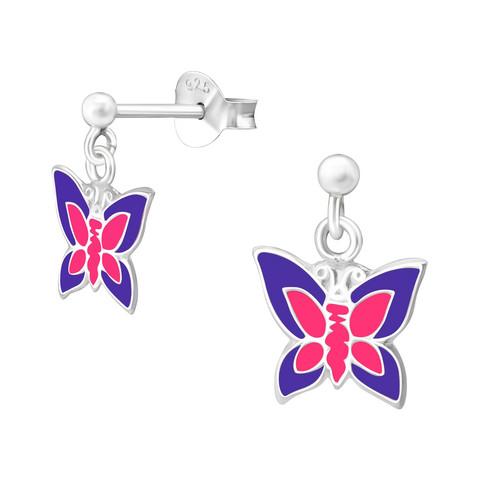 Lasten hopeakorvakorut, Pink & Purple Butterfly -perhoskorvakorut