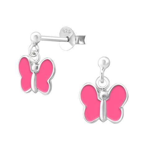Lasten hopeakorvakorut, Pink Summer Butterfly -perhoskorvakorut