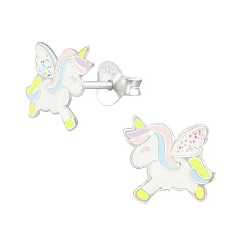 Hopeiset korvanapit, Pastel unicorn with Glitter Wings -yksisarvinen