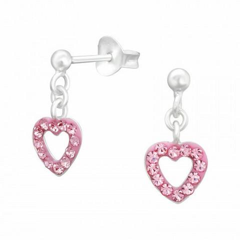 Lasten hopeakorvakorut, Mini Pink Heart -sydänkorvakorut