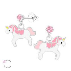 Lasten hopeakorvakorut, LA CRYSTALE|Pink Unicorn -yksisarviskorvakorut