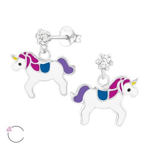 Lasten hopeakorvakorut, LA CRYSTALE|Purple Unicorn -yksisarviset