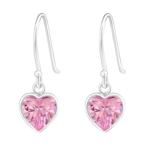 Hopeiset korvakorut, Small Pink Crystal Heart -sydänkorvakorut
