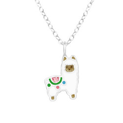 Lasten hopeinen kaulakoru, Llama -laamakaulakoru
