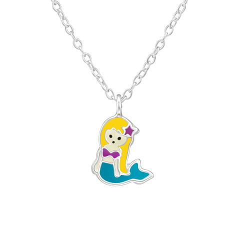 Lasten hopeinen kaulakoru, Mermaid -merenneitokaulakoru
