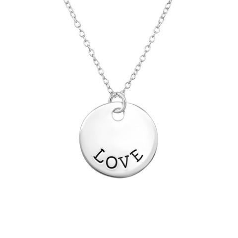 Hopeinen kaulakoru, Love Text Necklace -lovekaulakoru