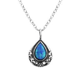 Hopeinen kaulakoru, Pear Blue Opal -sininen opaalikaulakoru