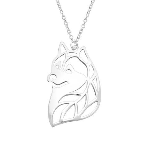 Hopeinen kaulakoru, Large Silver Wolf -hopeinen sudenpää