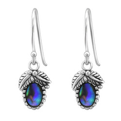 Hopeiset korvakorut, Oval Abalone Earrings -simpukkakorvakorut