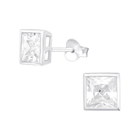 Hopeiset korvanapit, Bezel Square 6mm CZ Crystal -kimallusnapit