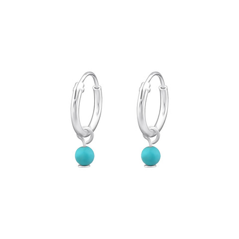Hopeiset korvarenkaat, Small Huggie Hoops with Turqoise Pearls