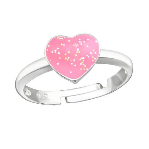Lasten hopeasormus, Pink Glitter Heart -sydänsormus