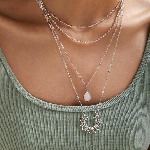 Kerroskaulakoru, FRENCH RIVIERA|Boho Necklace in Silver with Teardrop
