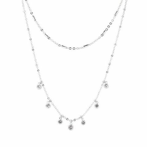 Kerroskaulakoru, FRENCH RIVIERA|Delicate Silver Necklace with Stones