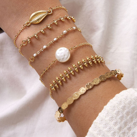 Rannekorusetti, FRENCH RIVIERA Pretty Beach Bracelets in Gold