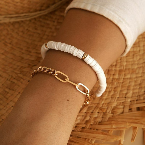 Rannekorusetti, FRENCH RIVIERA|White Surf Beach Bracelets in Gold