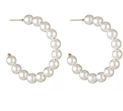 Korvakorut, PAPARAZZI|Large Trendy Pearl Hoops -helmirenkaat
