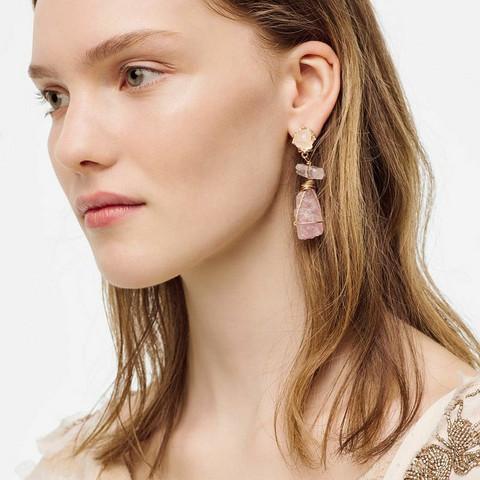 Korvakorut, FRENCH RIVIERA Modern Pink Earrings in Gold