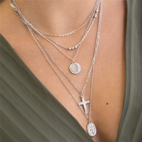 Kerroskaulakoru, PAPARAZZI Necklace with Cross and Madonna in Silver