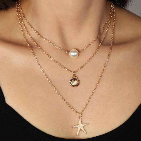 Kerroskaulakoru, FRENCH RIVIERA Summer Seastar Necklace in Gold