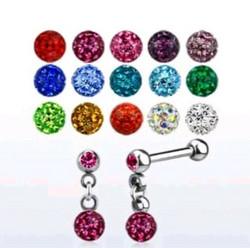 Rustokoru/traguskoru, Steel Barbell with Crystal Paved Balls