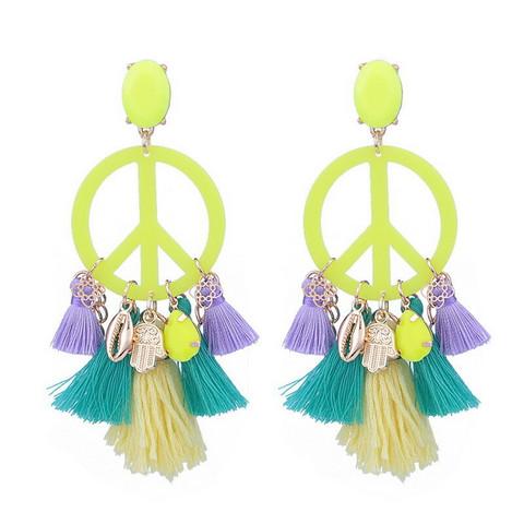 Korvakorut, PAPARAZZI Peace Earrings in Neon Yellow