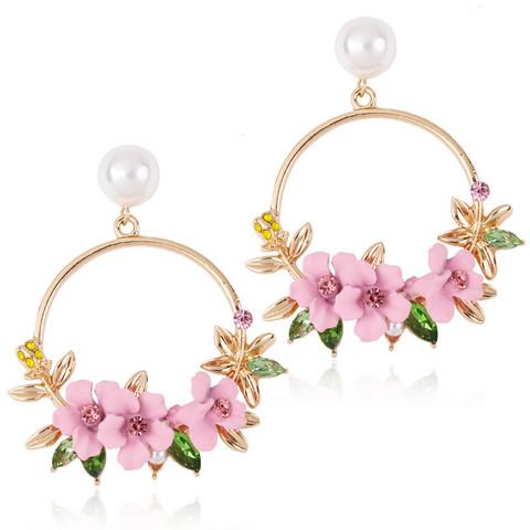 Korvakorut, FRENCH RIVIERA|Pretty Flower Earrings in Pink
