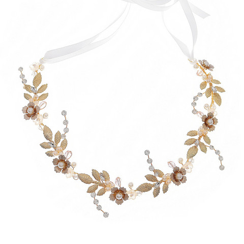 Hiuskoru, köynnös ROMANCE, Romantic Gold Flower Hairtwine