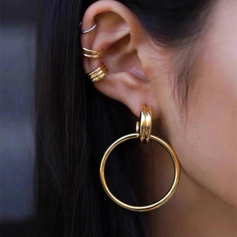 Korvakorut, FRENCH RIVIERA Large Classic Gold Earrings