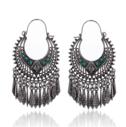 Korvakorut, Bohemian Hanger Earrings in Antique Silver with Stones